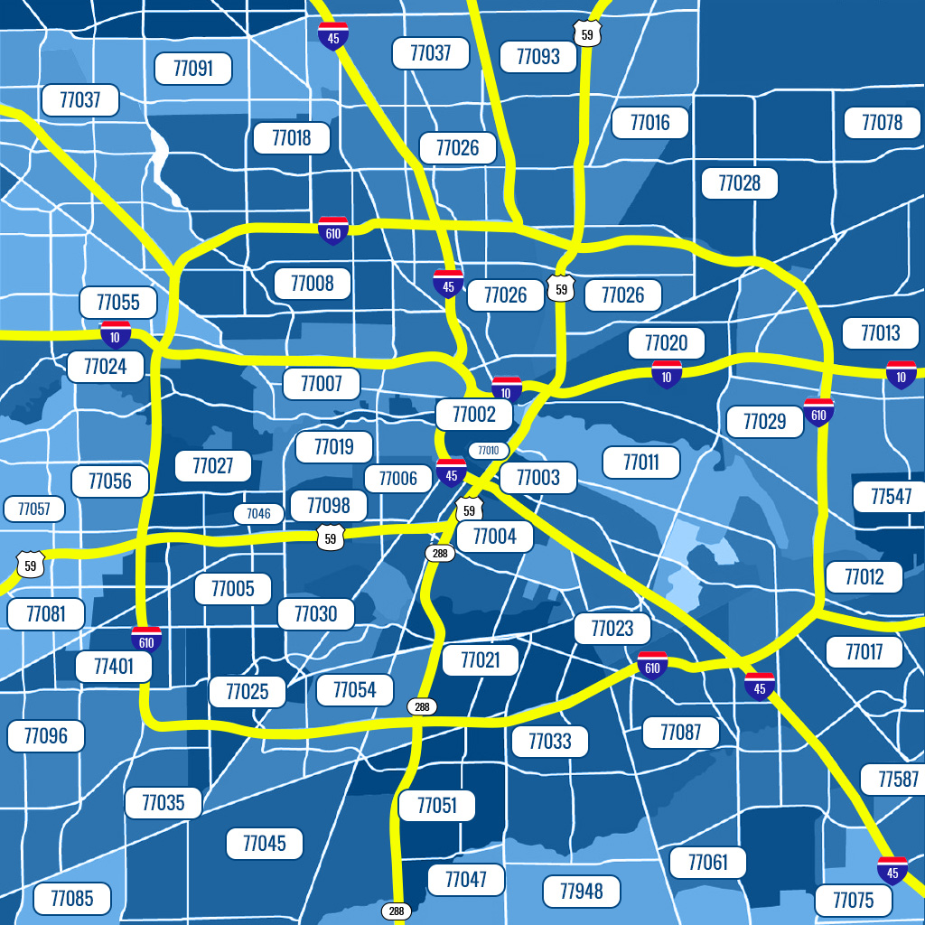 Houston, TX ZIP Code Map